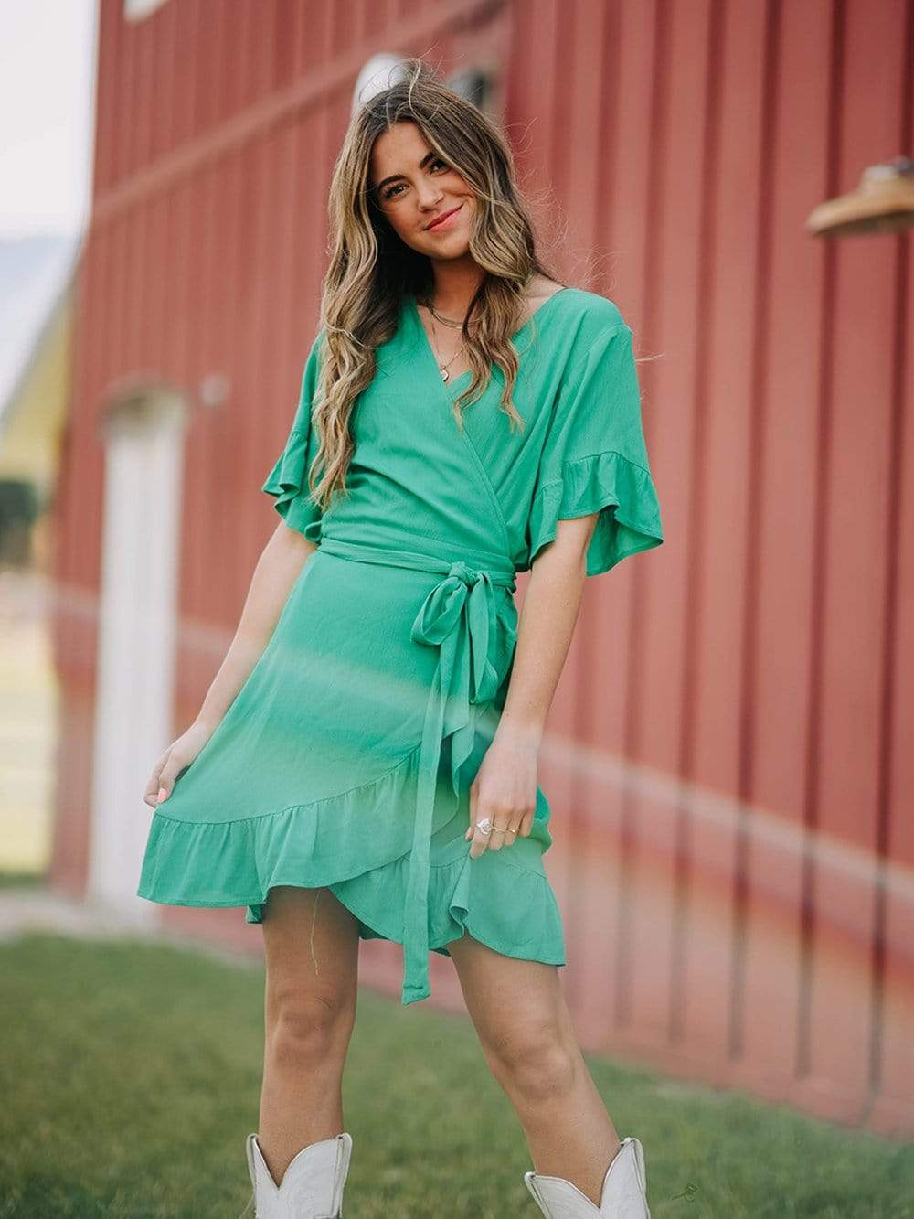 WAREHOUSE  Don't Pinch Me Mini Wrap Dress