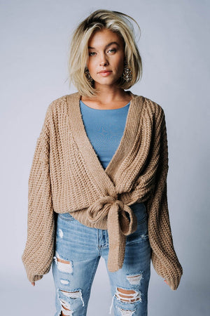 Clad and Cloth, Finally Home Wrap Cardigan in Taupe, Miss Love, Top.