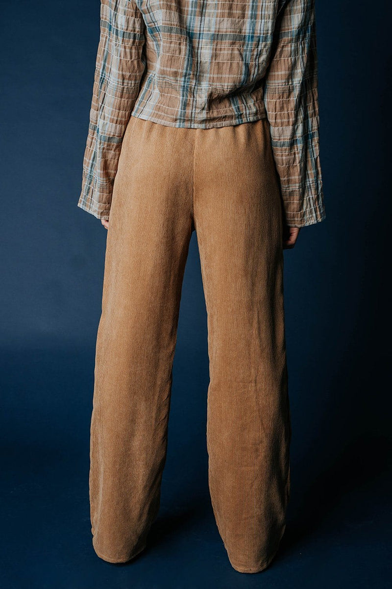 Clad and Cloth, Fine Line Corduroy Pant in Camel, Blue Blush, Bottom.