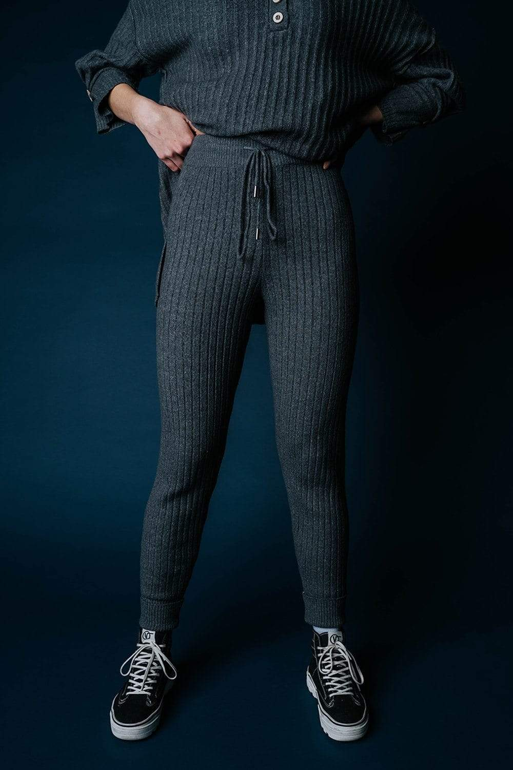 Clad and Cloth, Free People Around the Clock Jogger in Charcoal, Free People, Bottom.
