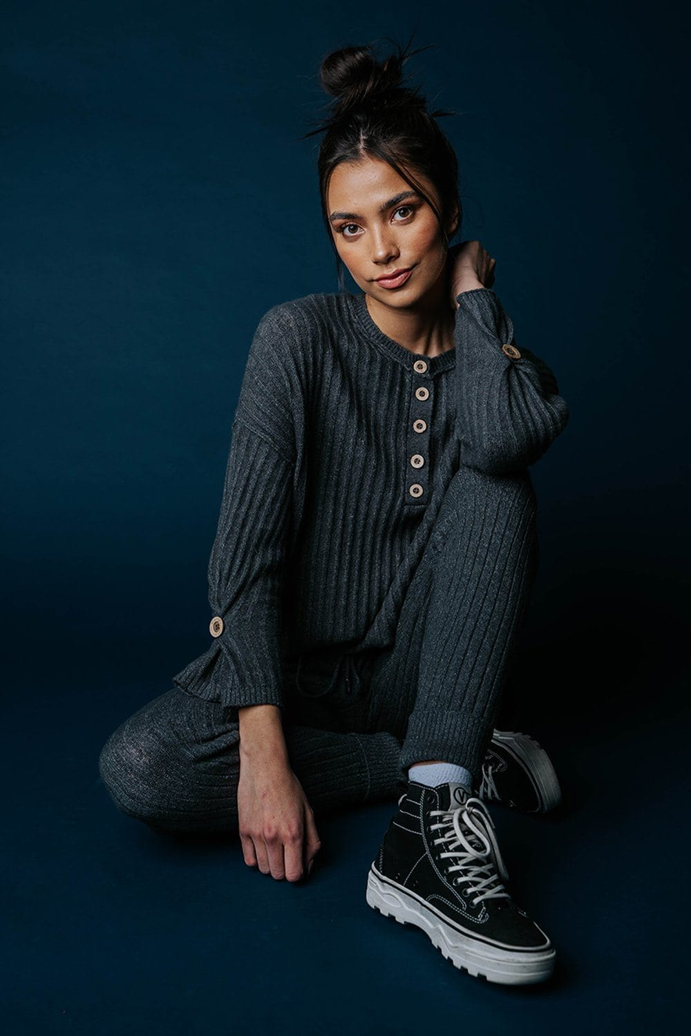 Free People Around the Clock Pullover in Charcoal Top Free People Clad and Cloth