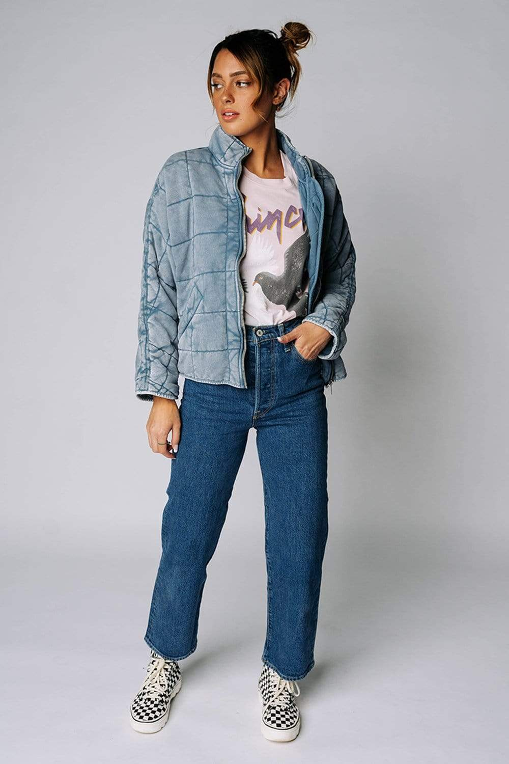 Free People Dolman Quilted Knit Jacket in Wavy Waters
