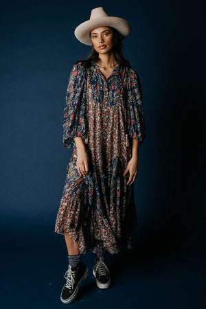 Free People Estelle Chiffon Maxi Dress in Multi Combo Dress n/a Clad and Cloth