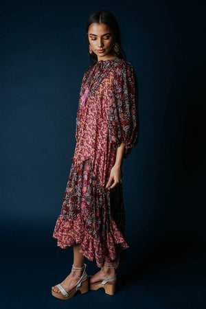Free People Estelle Maxi Dress in Pop Combo Dress n/a Clad and Cloth