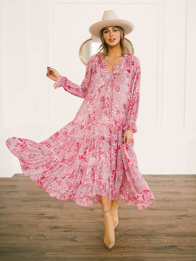 Clad and Cloth, Free People Feeling Groovy Maxi in Summertime Pink, Free People, Dress.