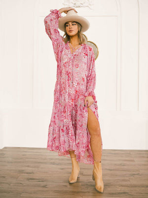 Free People Feeling Groovy Maxi in Summertime Pink Dress Free People Clad and Cloth
