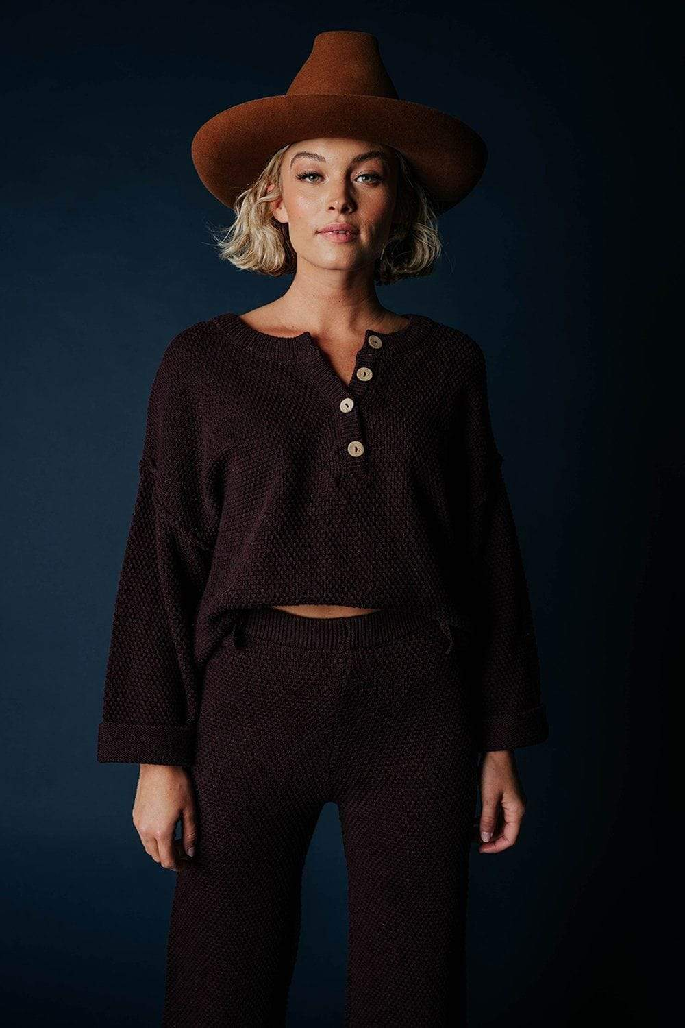 Free People Hailee Sweater Set in Burgundy Top Free People Clad and Cloth
