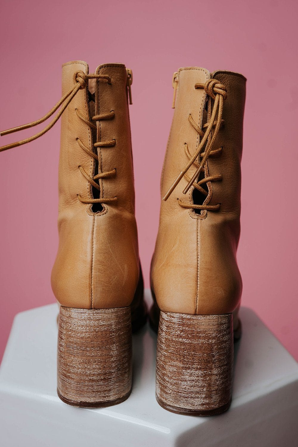 Free People Livia Laceback Heel Boot in Tan Shoes Free People Clad and Cloth