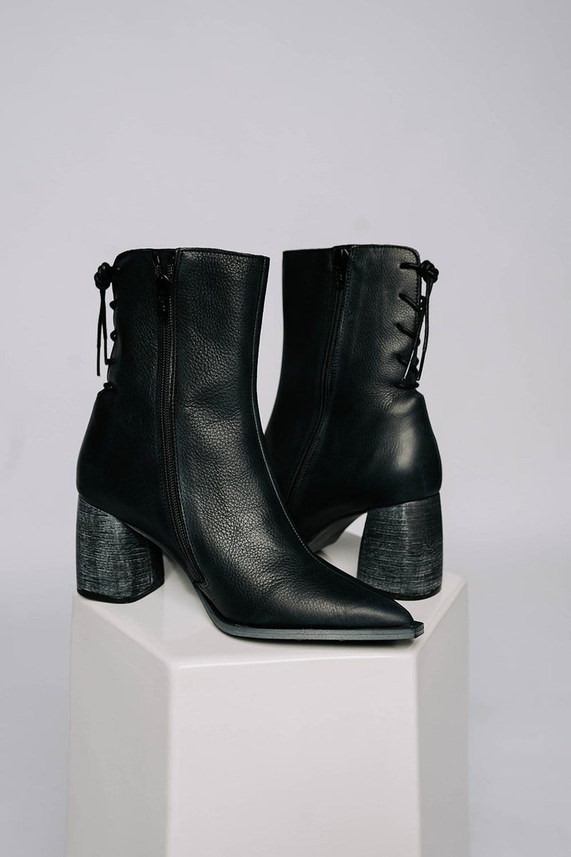 Free People Livia Laceback Heel Boots in Black
