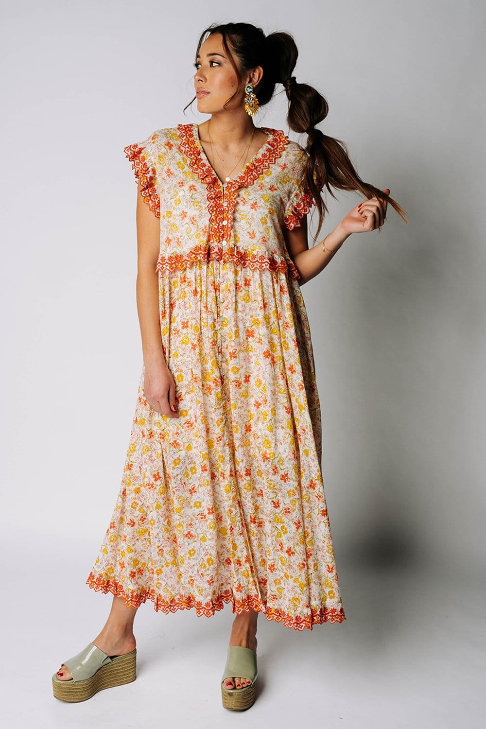 Clad and Cloth, Free People Milania Midi Dress in Confetti Combo, Free People, Dress.