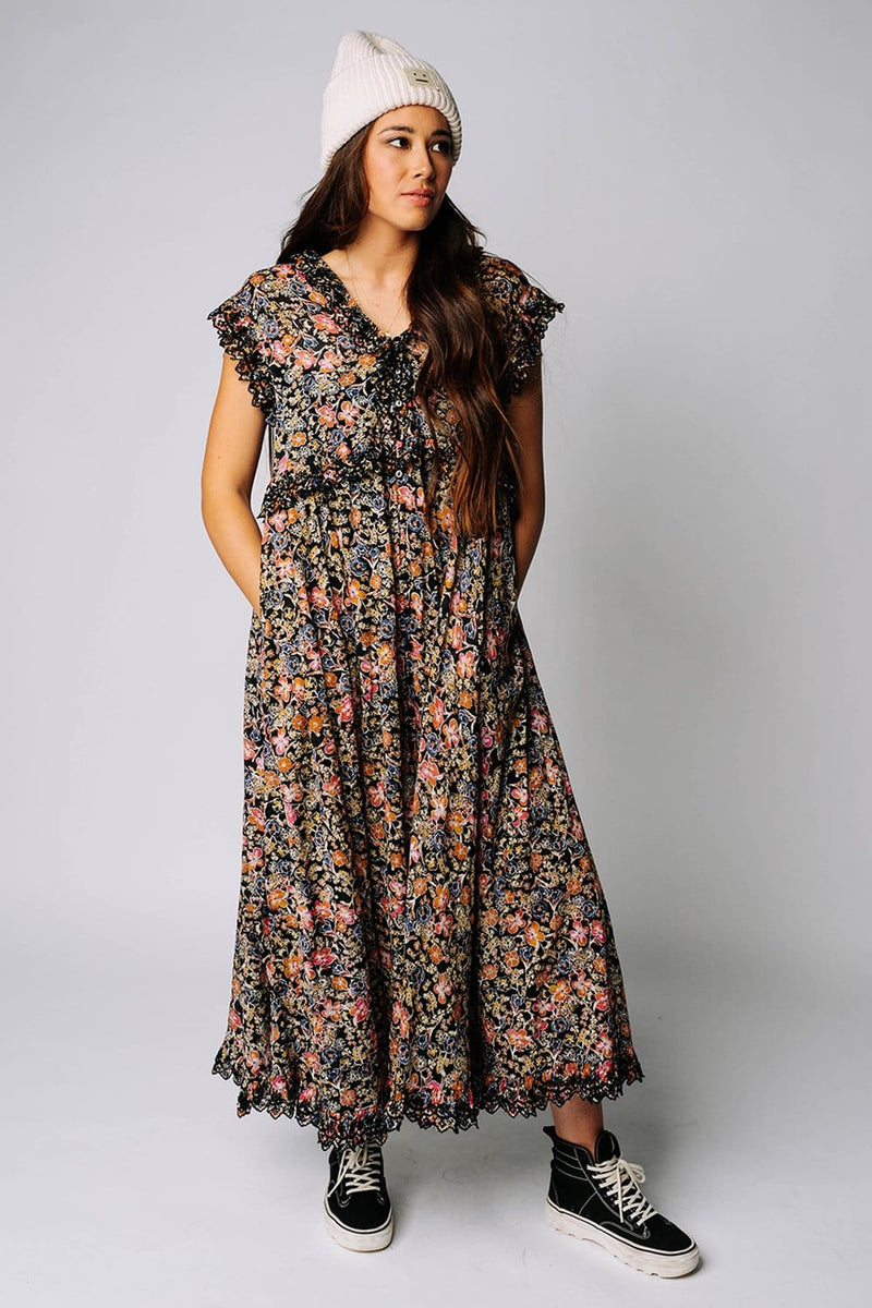 Clad and Cloth, Free People Milania Midi Dress in Dark Combo, Free People, Dress.