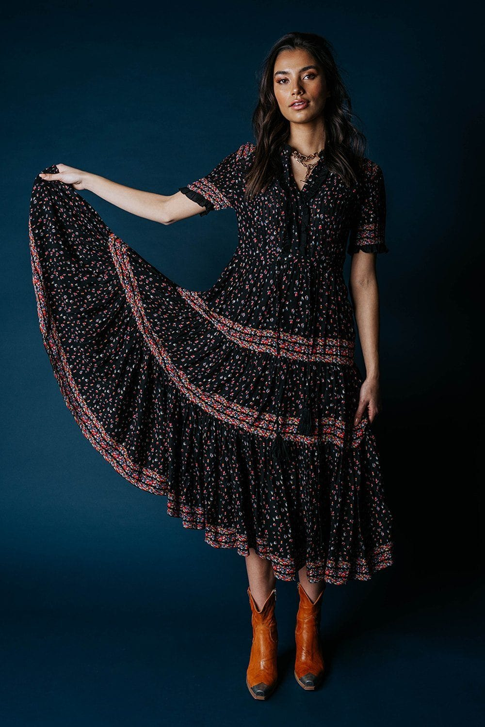 Free People Rare Feeling Maxi Dress in Black Dress Free People Clad and Cloth