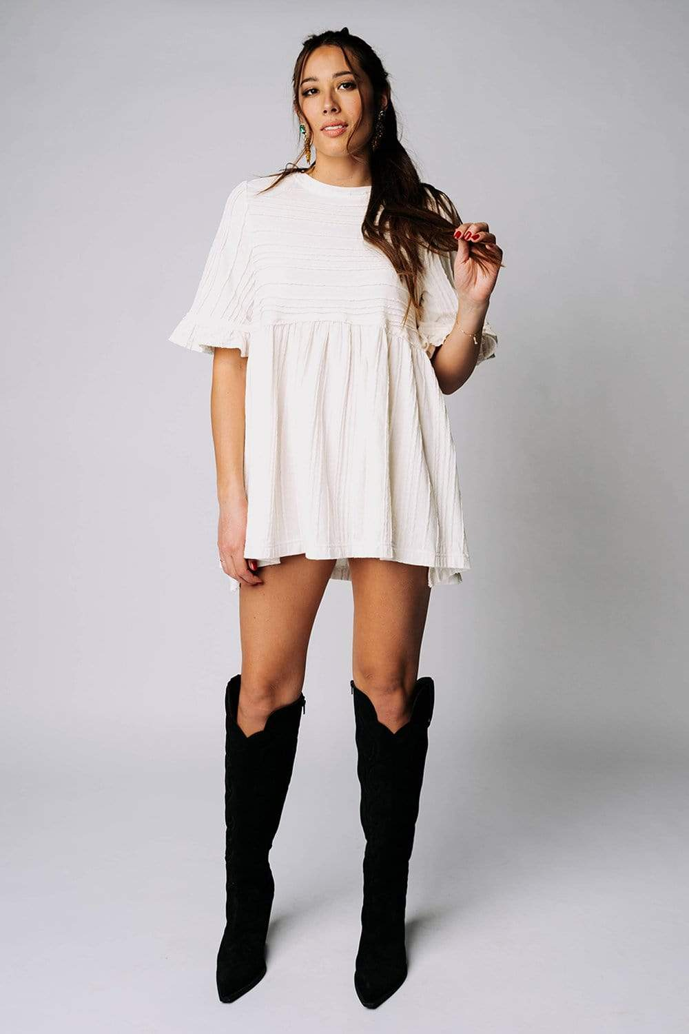 Free People Take A Spin Tunic Top In Ivory