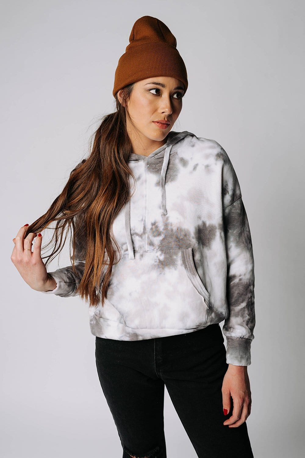 Clad and Cloth, Free People Tie Dye Work It Out Hoodie in Black Tie Dye, Free People, Top.