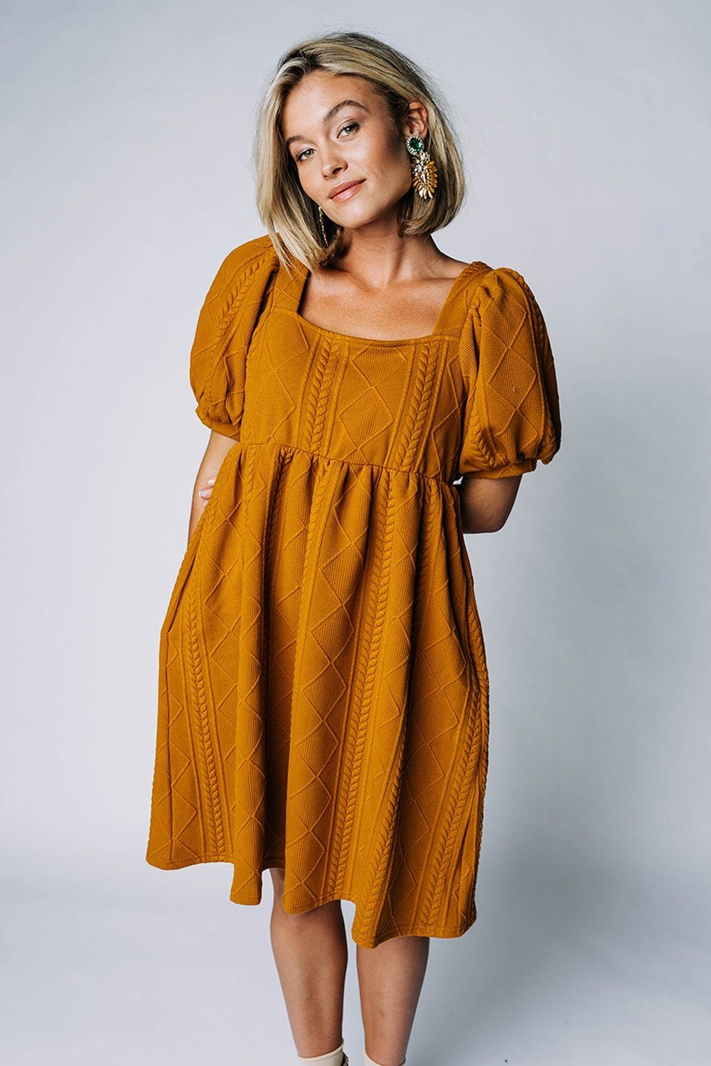 Happier With You Dress in Butterscotch, cladandcloth, Listicle.