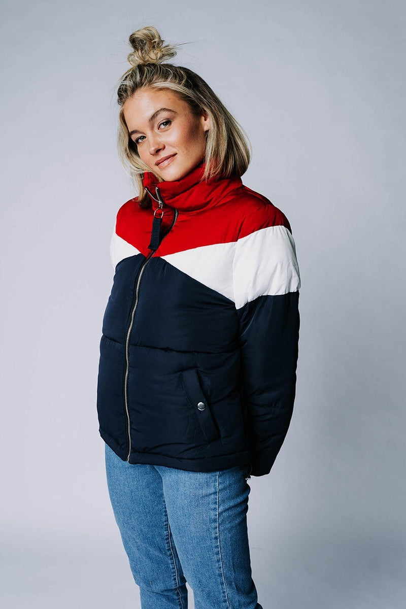 Iceland Puffer in Navy Combo, cladandcloth, n/a.