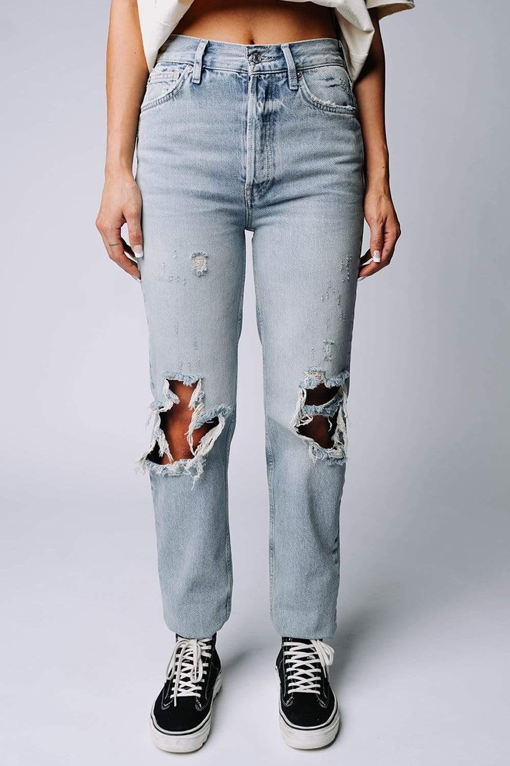 Free People Lasso Jean in Foxtrot Light Wash