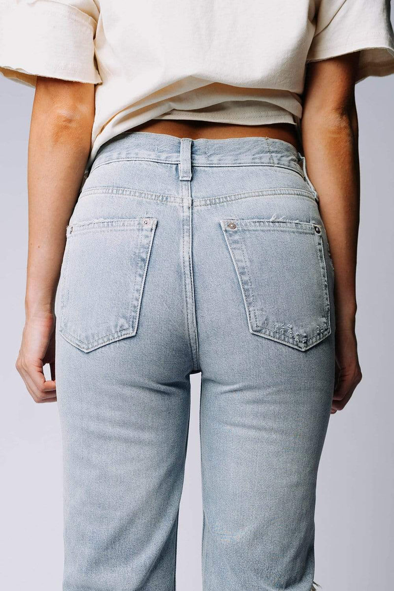 Clad and Cloth, Free People Lasso Jean in Foxtrot Light Wash, Free People, Bottom.