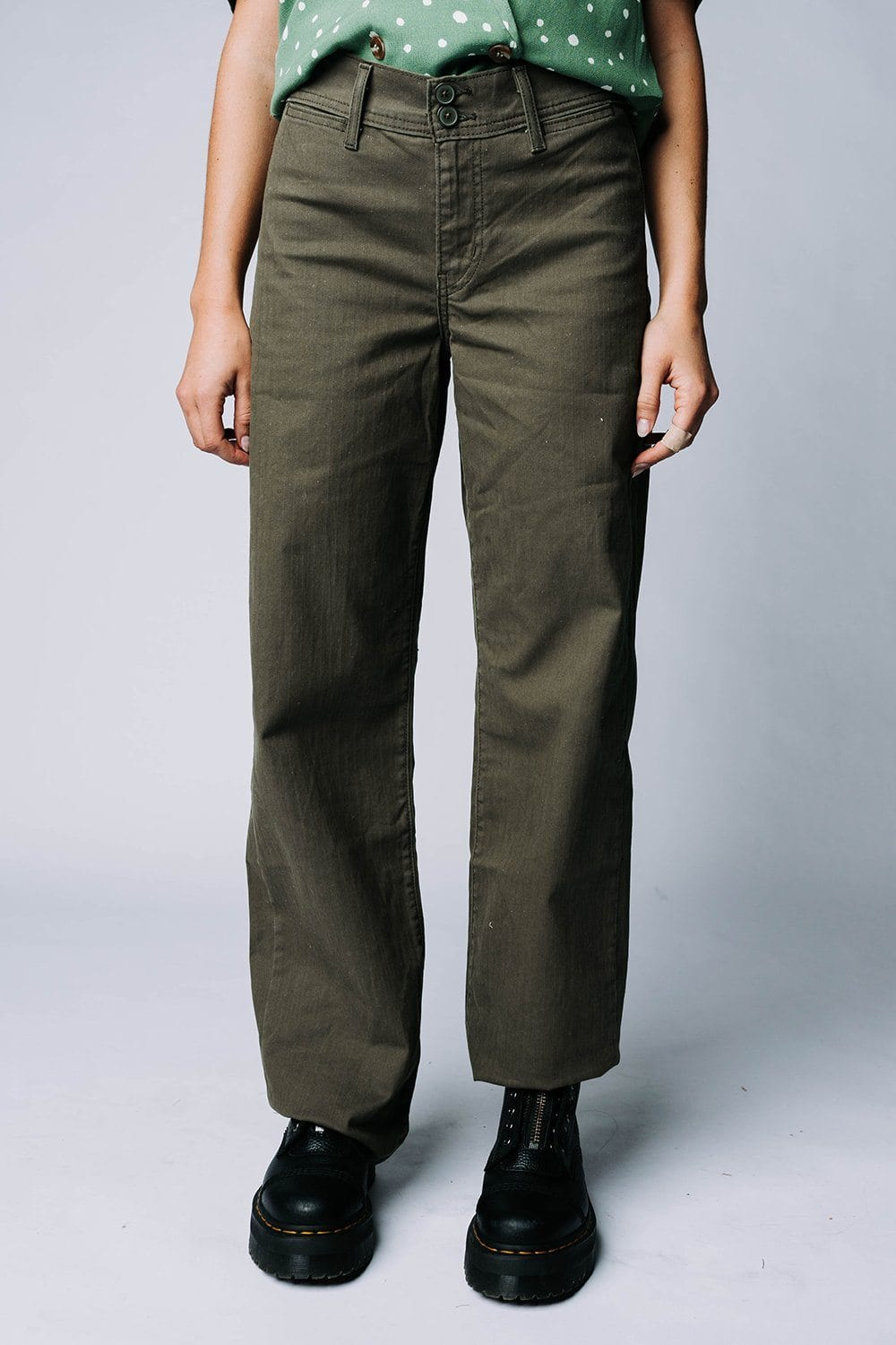 Levi's CL Utility Wide LB Jean in Olive Night Herringbone Bottom Levi's Clad and Cloth
