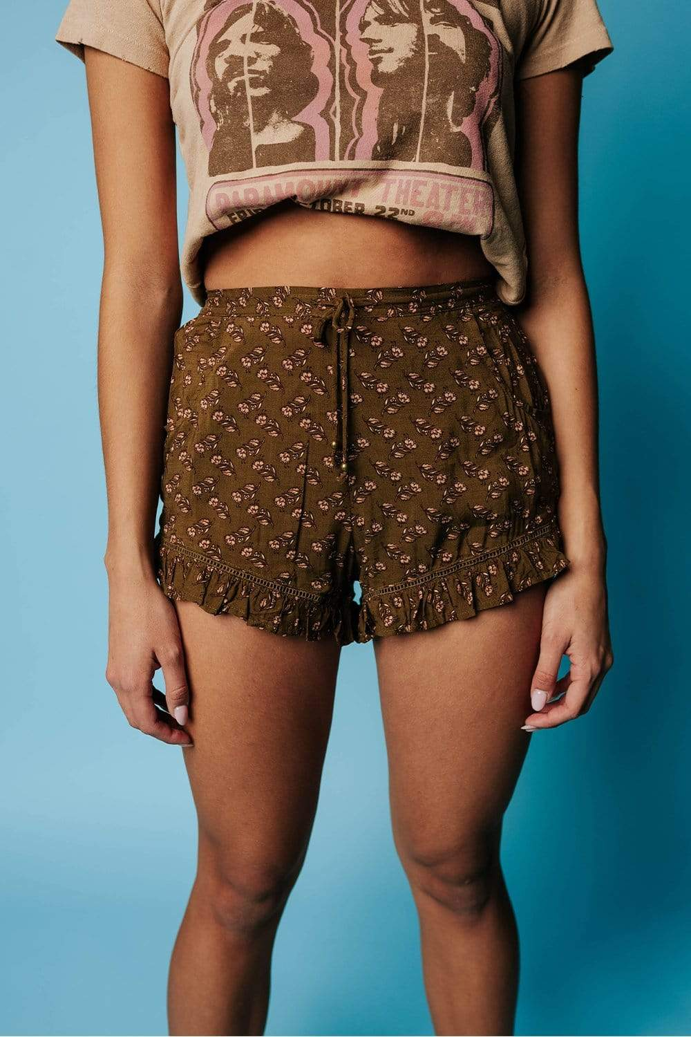 Olive Wallflower Ruffled Shorts