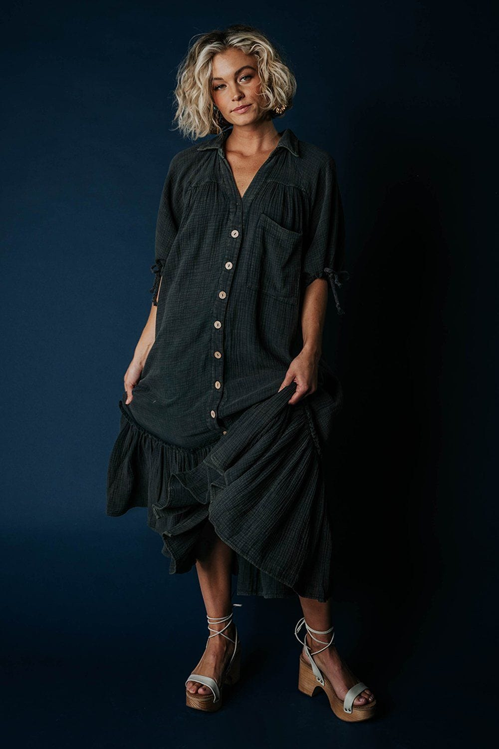 Clad and Cloth, Piece of You Dress in Charcoal, Park Adelyn, Dress.