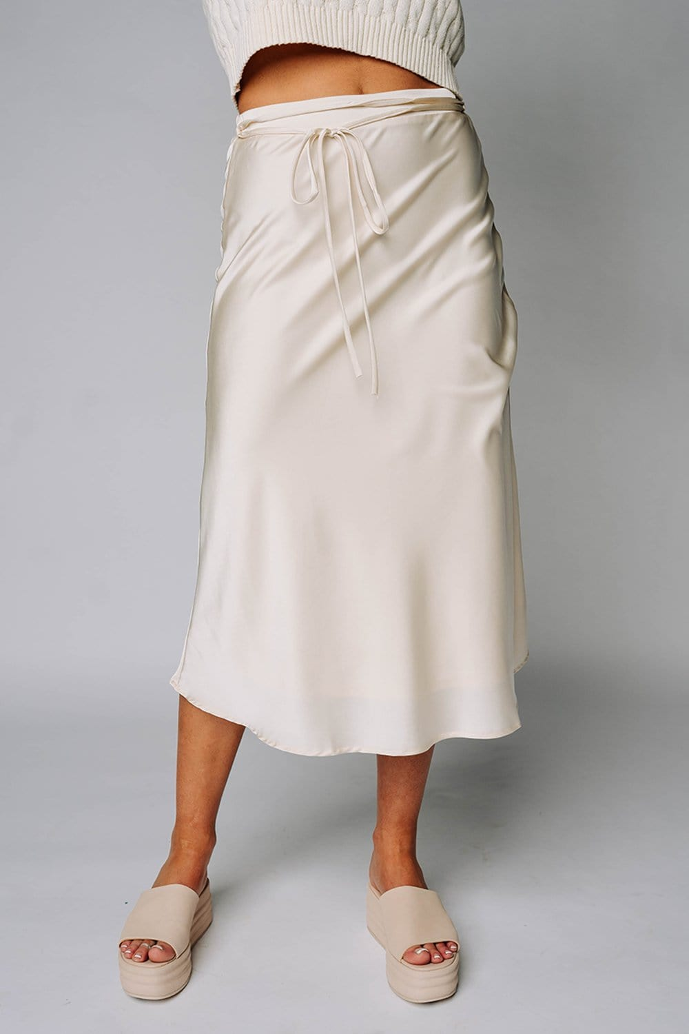 Renesmee Satin Midi Skirt in Bone