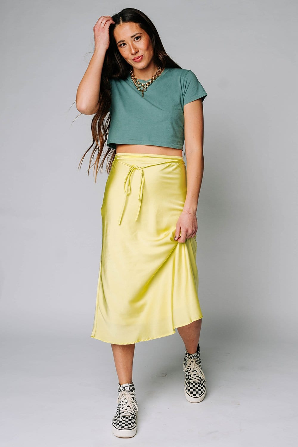 Renesmee Satin Midi Skirt in Lime