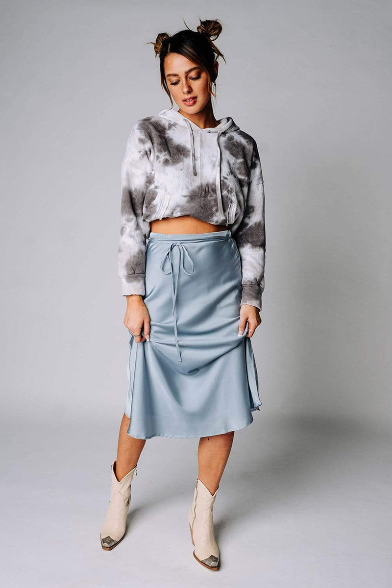 Renesmee Satin Midi Skirt in Smoke Blue