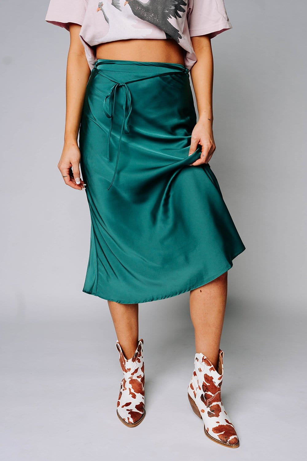 Renesmee Satin Midi Skirt in Teal