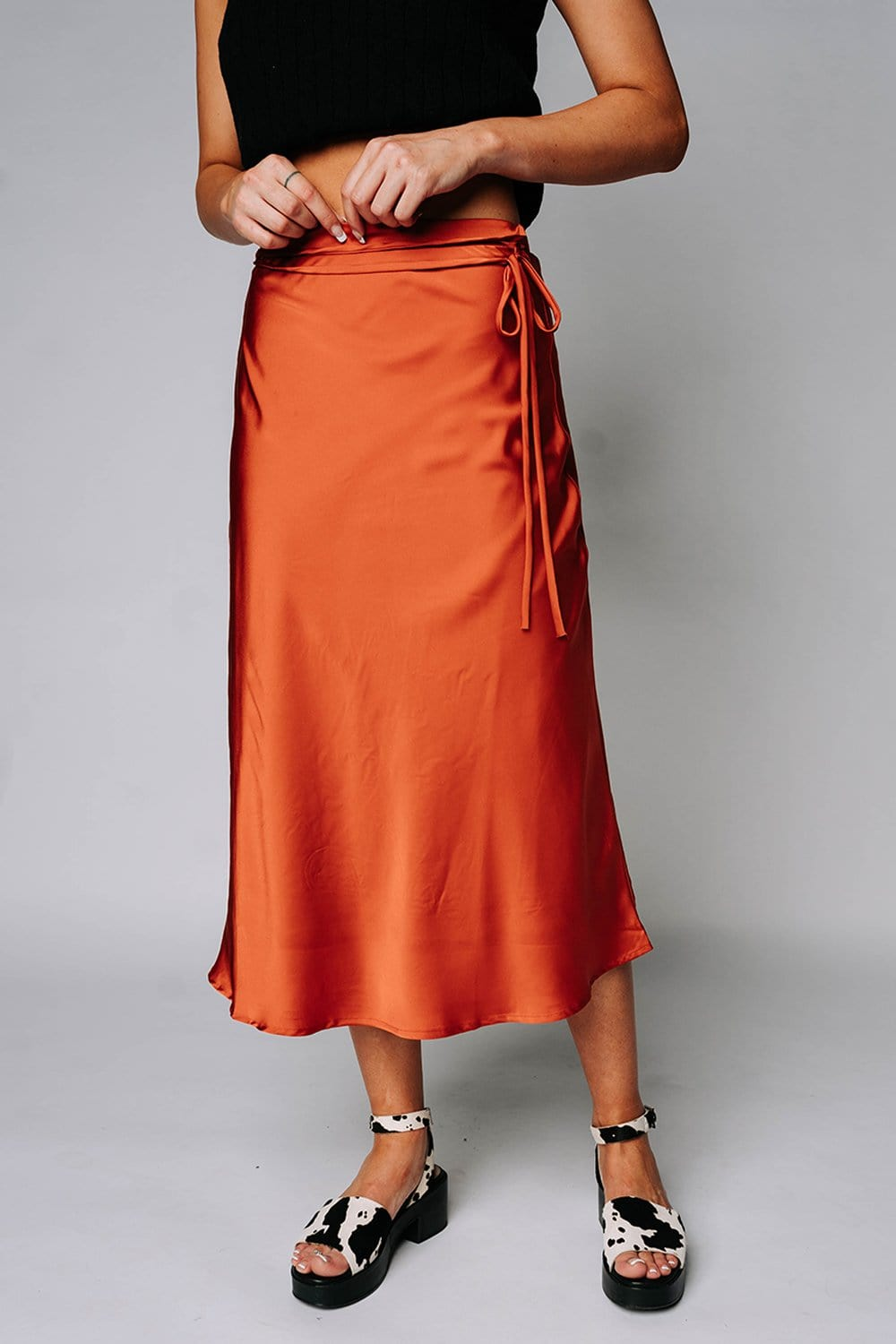 Renesmee Satin Midi Skirt in Terra Cotta