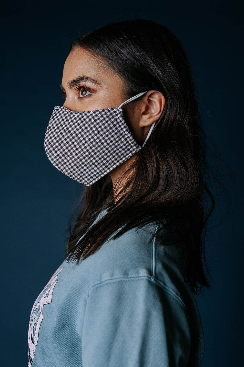 Safe & Sound Gingham Face Mask in Brown, cladandcloth, n/a.