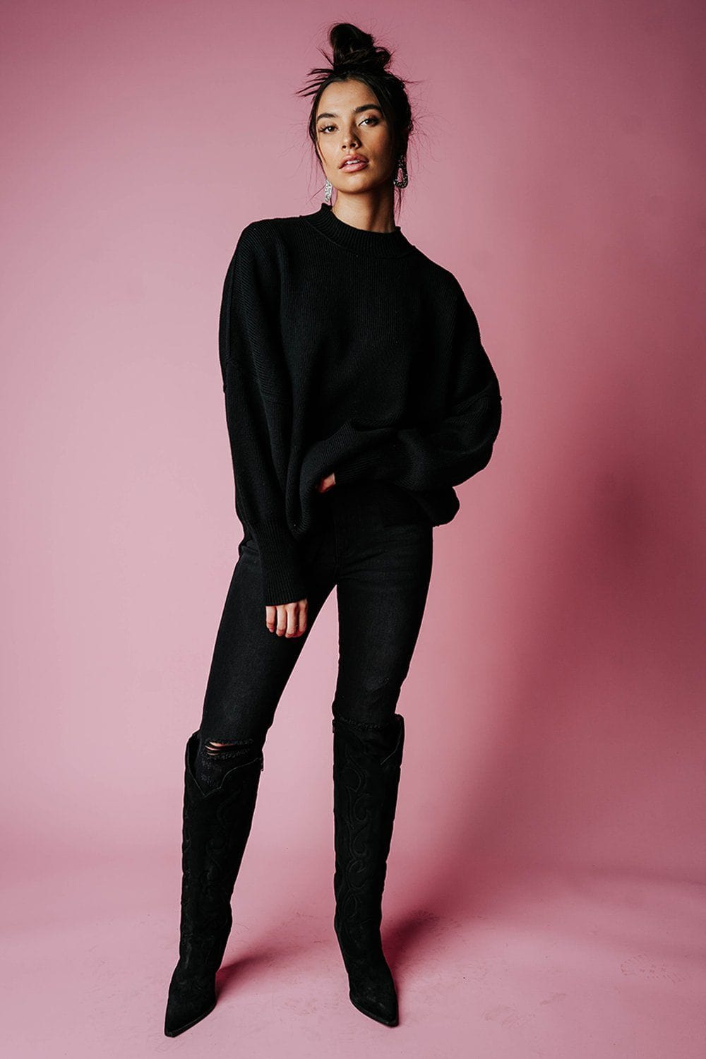 State of Emotion Pullover in Black Top Zenana Clad and Cloth