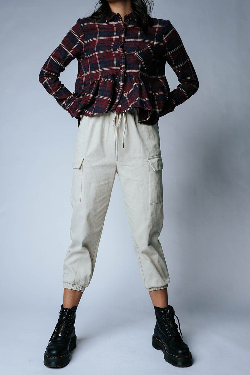 Step Up Jogger Pant in Beige, cladandcloth, Crescent.