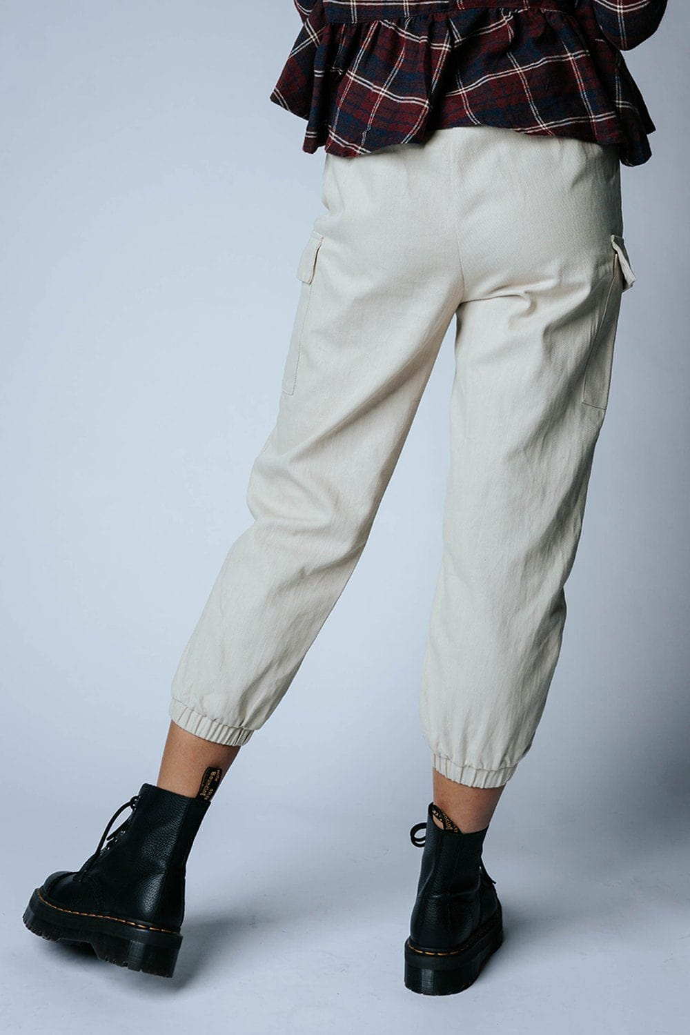 Clad and Cloth, Step Up Jogger Pant in Beige, Crescent, Bottom.