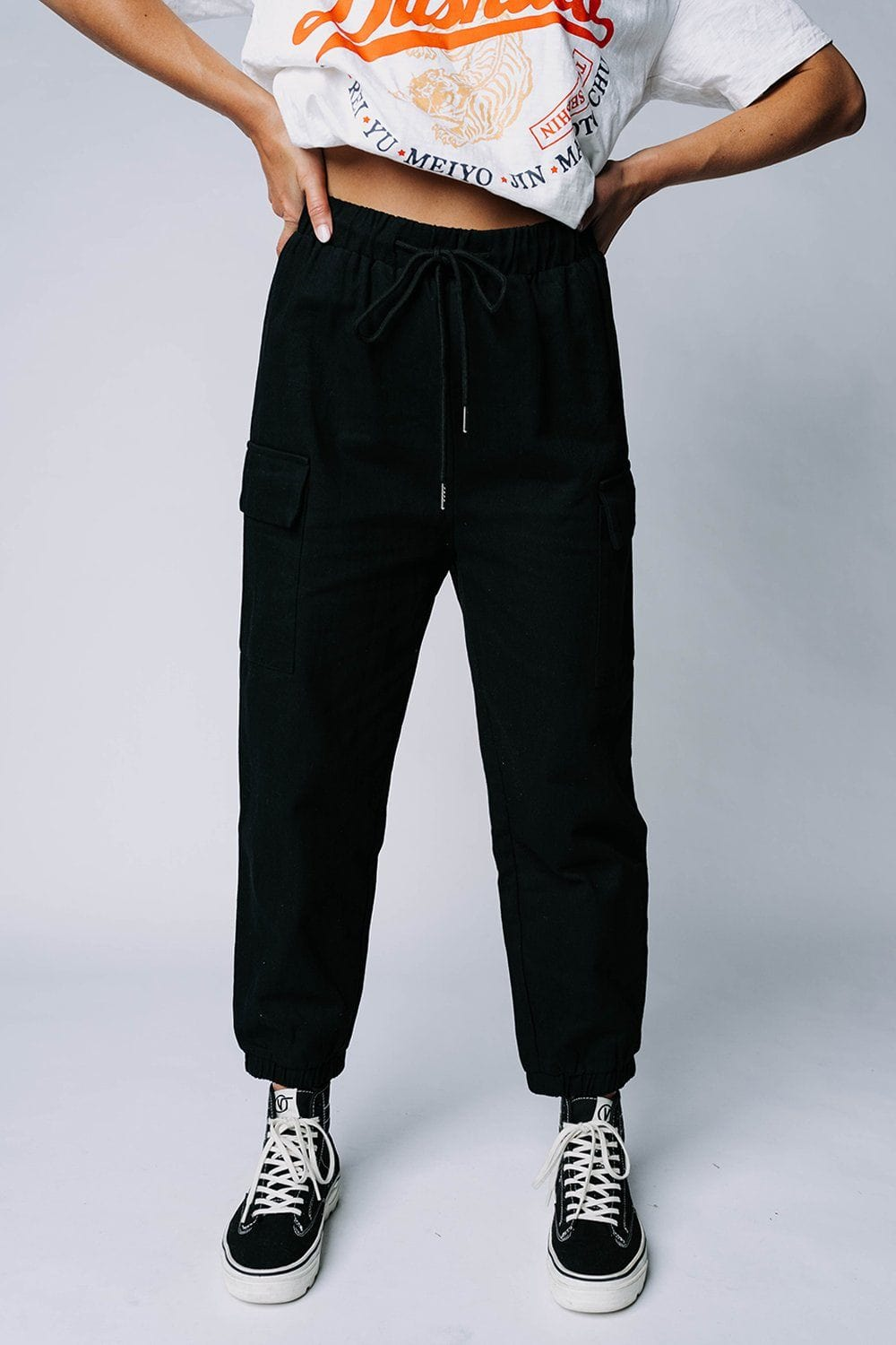 Clad and Cloth, Step Up Jogger Pant in Black, Crescent, Bottom.