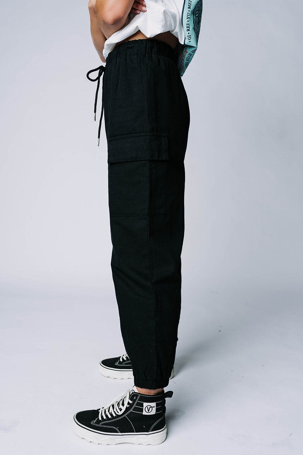Step Up Jogger Pant in Black, cladandcloth, Crescent.