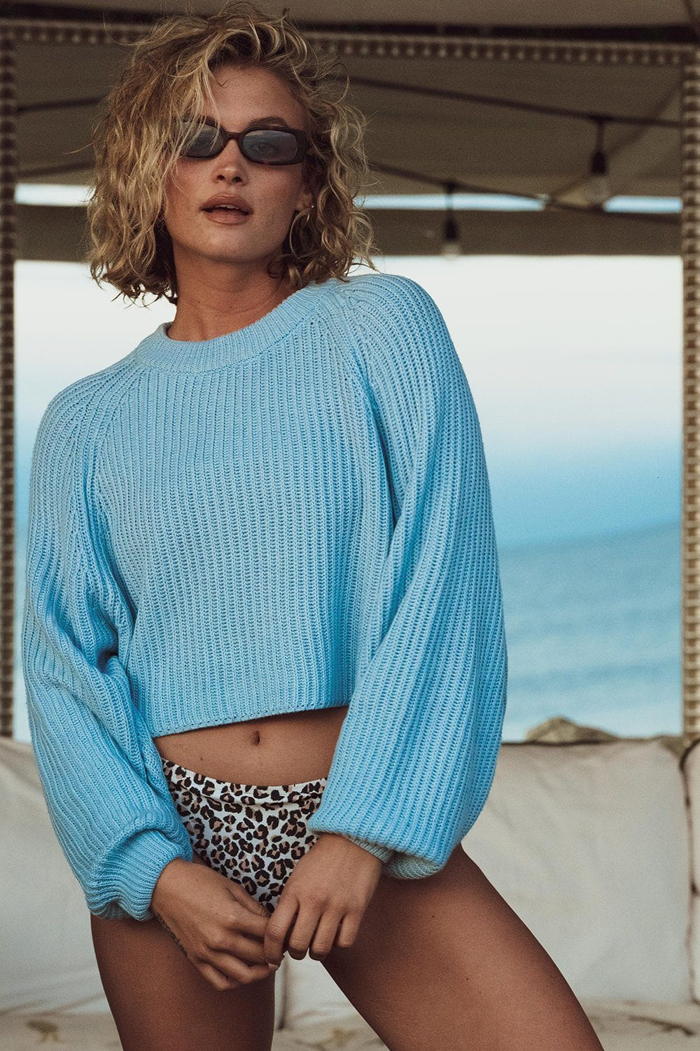 Sweet Dreams Pullover in Sky Blue Top Cotton Candy LA Clad and Cloth