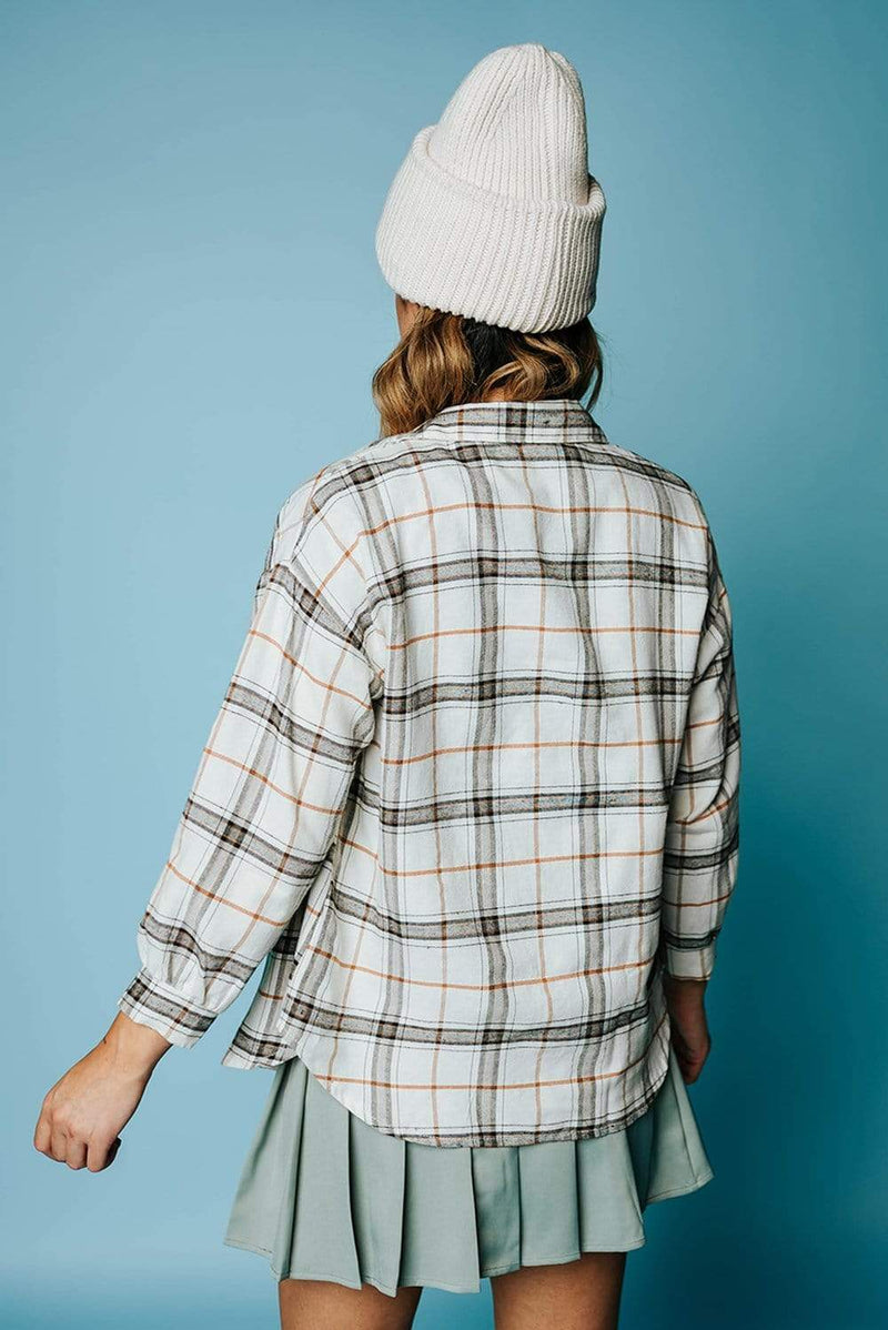 Tahoe Flannel Top in Beige