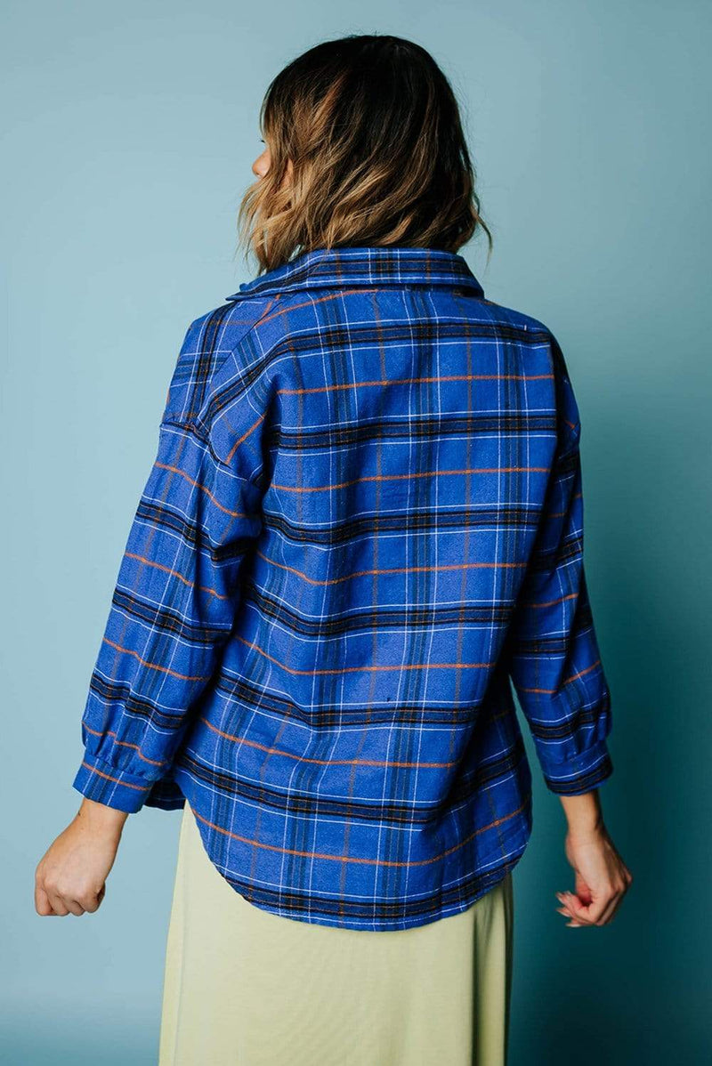 WAREHOUSE  Tahoe Flannel Top in Denim Blue
