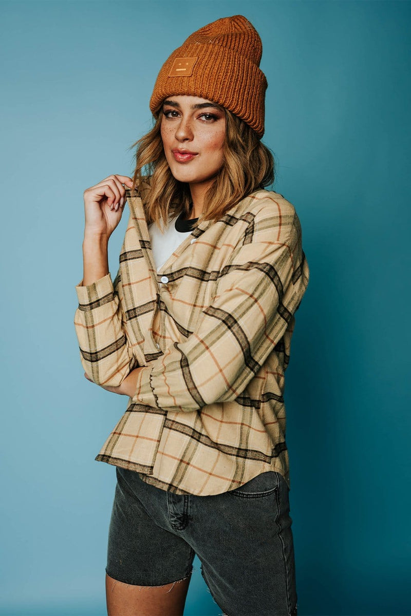 Tahoe Flannel Top in Khaki