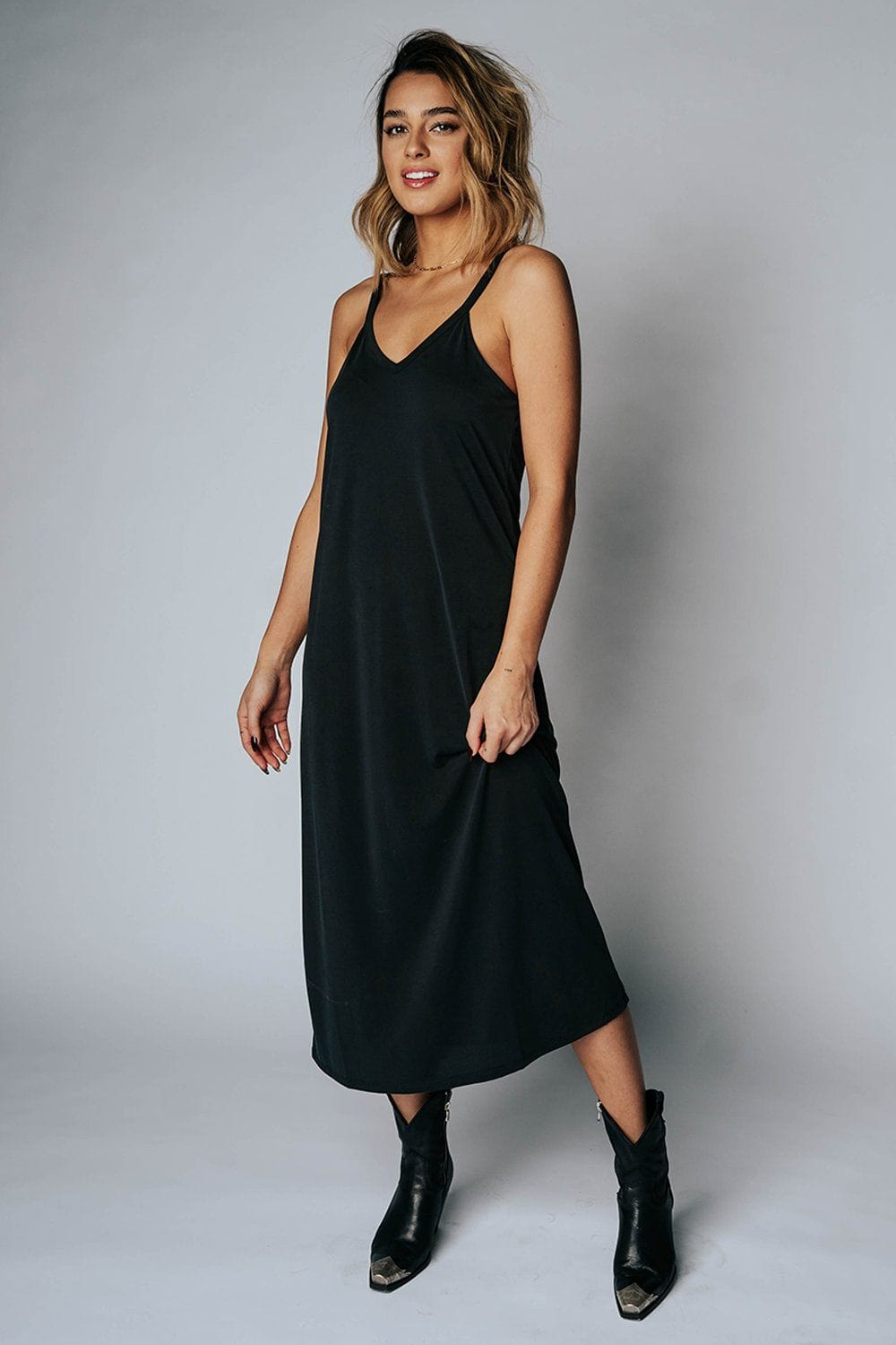 The Abigail Midi Dress in Black, cladandcloth, hyfve.
