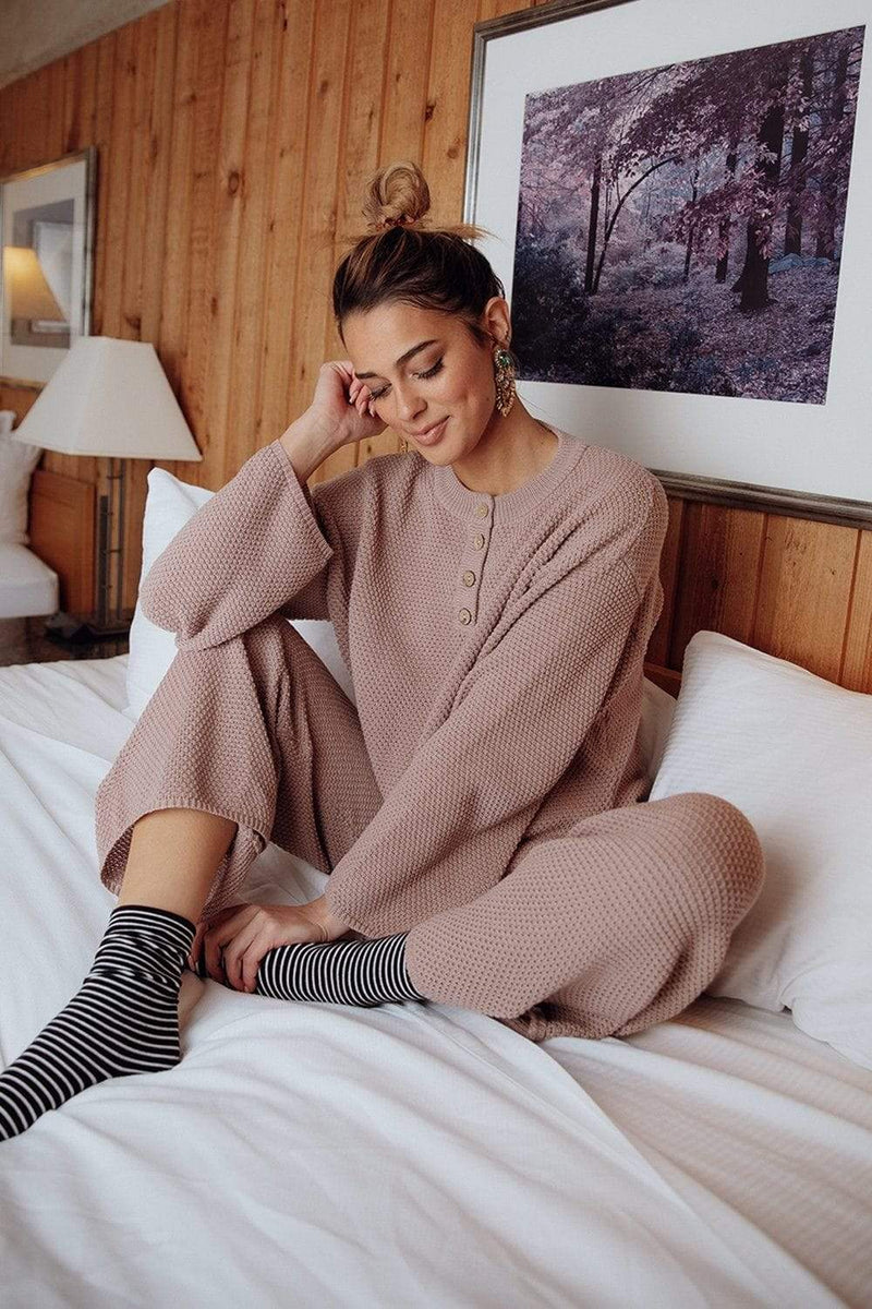 The Anna Sweater Set in Mauve, cladandcloth, Park Adelyn.