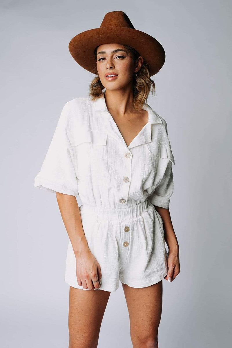 Clad and Cloth, The Carter Romper in Off-White, Malibu Bum, Top.