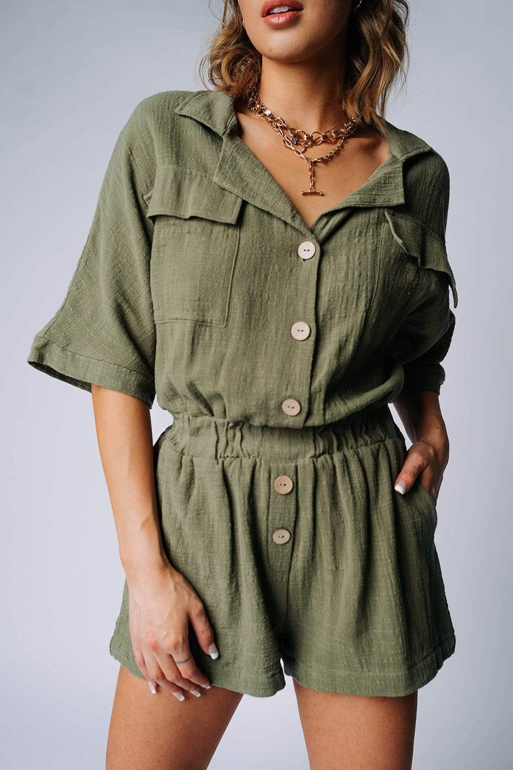 The Carter Romper in Olive