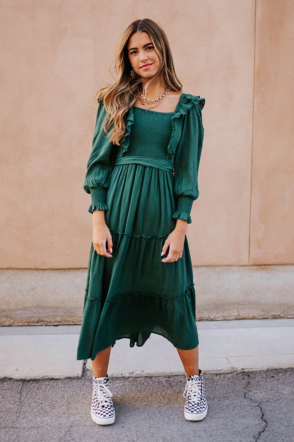 Clad and Cloth, The Dallin Dress in Forest Green, In Loom, Dress.