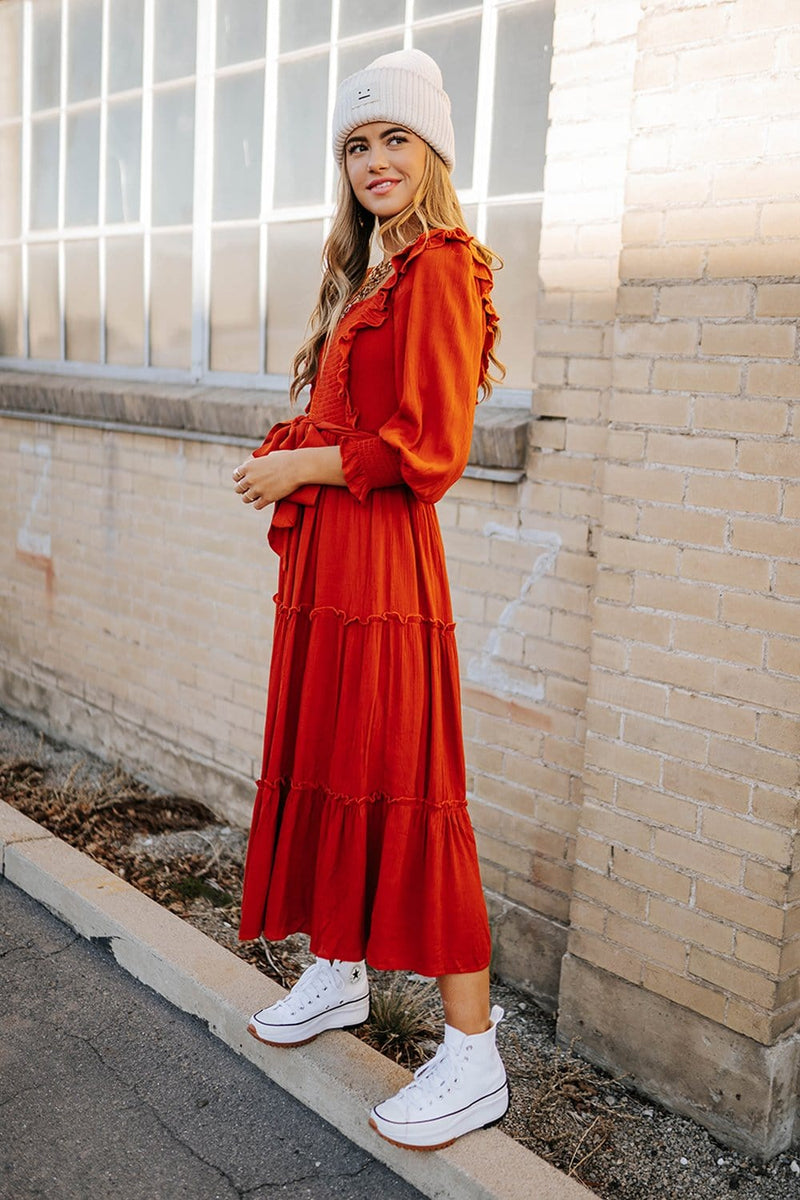 Clad and Cloth, The Dallin Dress in Rust, In Loom, Dress.