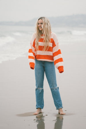 The Jesse Pullover in Coral Top Bailey Rose Clad and Cloth