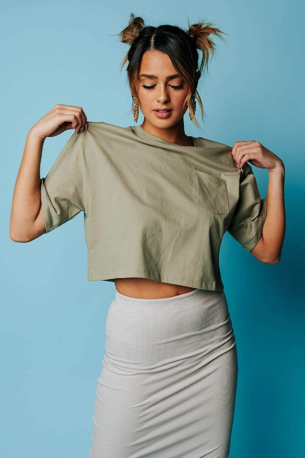The Miami Crop Top in Smoke Olive
