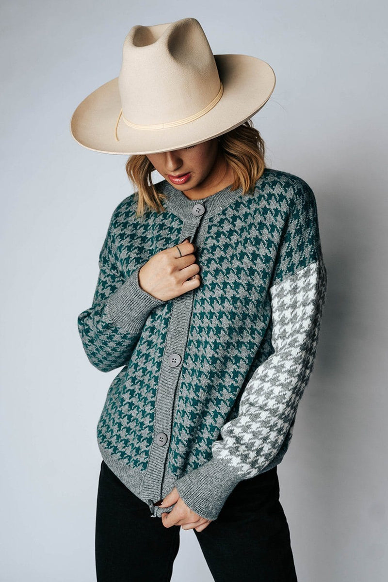 Clad and Cloth, The Mr. Rogers Cardigan in Green, May Blue, Top.