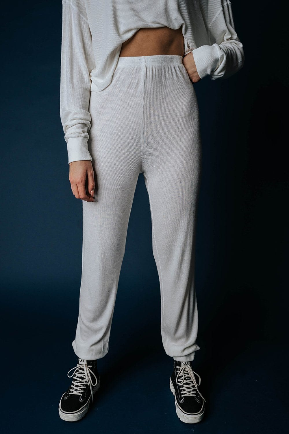 The Rickie Joggers in Ivory Bottom n/a Clad and Cloth